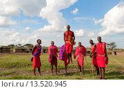 Купить «Kenya Masai Mara Masai warriors doing traditional jumping for tourists in Masai Mara National Park in reserve 9», фото № 13520945, снято 8 июля 2020 г. (c) age Fotostock / Фотобанк Лори
