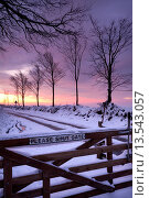 Купить «Snow covered wooden gate on a moorland road, Exmoor, Somerset, England, United Kingdom, Europe», фото № 13543057, снято 4 августа 2020 г. (c) age Fotostock / Фотобанк Лори