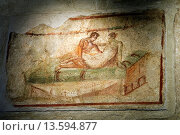 erotic painting inside the Lupanare, archeological site of Pompeii, province of Naples, Campania region, southern Italy, Europe (2007 год). Редакционное фото, фотограф Christian Goupi / age Fotostock / Фотобанк Лори