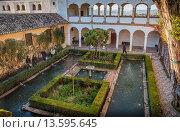 Купить «Patio del Ciprés de la Sultana  El Generalife  La Alhambra  Granada  Andalusia», фото № 13595645, снято 18 июня 2019 г. (c) age Fotostock / Фотобанк Лори