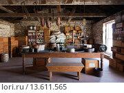 Купить «USA, Kansas, Larned, Fort Larned National Historic Site, mid-19th century military outpost, protecting the Santa Fe Trail, cook house», фото № 13611565, снято 23 апреля 2019 г. (c) age Fotostock / Фотобанк Лори