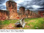 Купить «Wheelbarrow. Riba de Santiuste castle, Guadalajara, Spain», фото № 13722825, снято 21 октября 2018 г. (c) age Fotostock / Фотобанк Лори