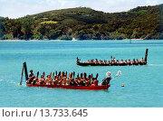 Купить «WAITANGI - FEB 6:Maori warriors rows a war canoe during Waitangi Day on February 6 2013 in Waitangi NZ.It's a New Zealand public holiday to celebrate the...», фото № 13733645, снято 6 февраля 2013 г. (c) age Fotostock / Фотобанк Лори