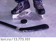 Купить «hockey sticsk and puck on ice», фото № 13773101, снято 17 июля 2019 г. (c) PantherMedia / Фотобанк Лори