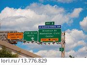Купить «street signs on highway, USA, New York City», фото № 13776829, снято 21 сентября 2019 г. (c) age Fotostock / Фотобанк Лори