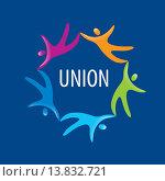 Купить «Логотип союза людей на синем фоне», иллюстрация № 13832721 (c) Алексей Бутенков / Фотобанк Лори