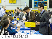 Купить «Job seekers attend an internship and job fair at Pace University in New York. The US Labor Department reports new claims for unemployment benefits for...», фото № 13834133, снято 22 ноября 2019 г. (c) age Fotostock / Фотобанк Лори
