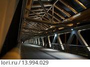 Пешеходный мост через реку Мзымта на горнолыжном курорте Роза Хутор, Красная поляна, Сочи (2015 год). Стоковое фото, фотограф Алина Щедрина / Фотобанк Лори