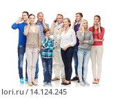Купить «group of smiling people with smartphones», фото № 14124245, снято 21 октября 2015 г. (c) Syda Productions / Фотобанк Лори