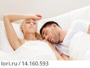 Купить «couple sleeping in bed at home», фото № 14160593, снято 6 июня 2015 г. (c) Syda Productions / Фотобанк Лори