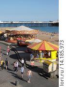 Купить «Merry go Round at Brighton beach Sussex.», фото № 14185973, снято 24 января 2019 г. (c) age Fotostock / Фотобанк Лори