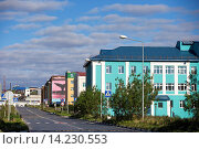 Купить «Russia , Chukotka autonomous district , Anadyr , headtown of the district , buildings painted or decorated with color pictures.», фото № 14230553, снято 21 августа 2018 г. (c) age Fotostock / Фотобанк Лори