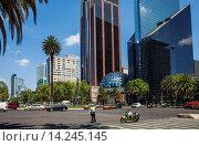 Купить «Paseo de la Reforma, at right Mexican Stock Exchange Building, Centro Bursatil, Mexico City, Mexico.», фото № 14245145, снято 25 февраля 2020 г. (c) age Fotostock / Фотобанк Лори