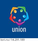Купить «Яркий цветной логотип union people», иллюстрация № 14291189 (c) Алексей Бутенков / Фотобанк Лори