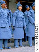 Купить «Chinese men dressed as Terracotta Warriors for cultural display in Xian, China», фото № 14293781, снято 24 апреля 2019 г. (c) age Fotostock / Фотобанк Лори