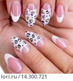 Купить «Beautiful woman's nails with french manicure», фото № 14300721, снято 2 сентября 2014 г. (c) Валуа Виталий / Фотобанк Лори