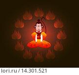 Купить «Мудрая китайская Обезьяна в кругу огня. Символ нового, 2016 года», иллюстрация № 14301521 (c) Артем Волков / Фотобанк Лори