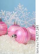 Купить «Christmas decorations in snow», фото № 14377241, снято 18 октября 2015 г. (c) Елена Блохина / Фотобанк Лори