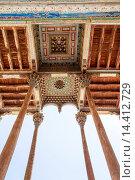 Купить «Exterior columns and ceiling, Bolo Hauz Mosque, also known as Bolo Khauz Mosque, Bukhara, Uzbekistan.», фото № 14412729, снято 24 января 2014 г. (c) age Fotostock / Фотобанк Лори