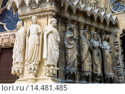 Купить «Statues cleaned during renovation and cleaning works at Reims Notre Dame Cathedral, UNESCO World Heritage Site, Reims, Champagne-Ardenne, France», фото № 14481485, снято 17 января 2018 г. (c) age Fotostock / Фотобанк Лори