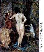 Naked Woman (Nudo di donna), by Nino Caffé, 1939, 20th Century, oil on board. Italy, Marche, Fossombrone, Quadreria Cesarini. Whole artwork view. Naked... Редакционное фото, фотограф ARNOLDO MONDADORI EDITORE S.P. / age Fotostock / Фотобанк Лори