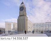 Купить «Башня с часами и пешеходный мост-акведук зимой. Красноярск», фото № 14558537, снято 11 января 2014 г. (c) Светлана Попова / Фотобанк Лори