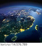 Купить «Вид на ночную Землю из космоса. Восточное побережье Китая», иллюстрация № 14576789 (c) Антон Балаж / Фотобанк Лори