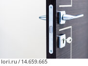 Купить «Modern, contemporary satin handle and keyhole detail», фото № 14659665, снято 22 июля 2018 г. (c) PantherMedia / Фотобанк Лори