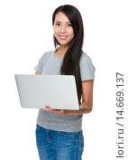 Купить «Young Woman use of the notebook computer», фото № 14669137, снято 26 июня 2019 г. (c) PantherMedia / Фотобанк Лори