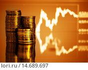 Купить «Золотые деньги. График колебания на коричневом фоне», фото № 14689697, снято 8 августа 2015 г. (c) Валерия Потапова / Фотобанк Лори