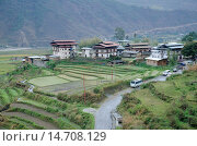 Aerial view Chimi Lhakhang city, Located near Lobesa, Punakha District, Bhutan. Стоковое фото, фотограф Ephotocorp / age Fotostock / Фотобанк Лори