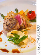 food tuna steak with ribbon noodles and tomato. Стоковое фото, фотограф allOver / age Fotostock / Фотобанк Лори