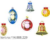 Купить «Набор новогодних елочных игрушек», иллюстрация № 14888229 (c) Артем Волков / Фотобанк Лори