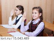 Прилежные ученицы. Две девочки сидят за партой, подняв руки. Стоковое фото, фотограф Оксана Лозинская / Фотобанк Лори