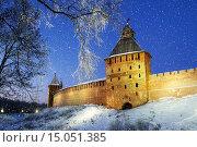 Купить «Новгородский кремль в Великом Новгороде, ночью», фото № 15051385, снято 18 июня 2019 г. (c) Зезелина Марина / Фотобанк Лори