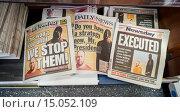 Купить «The New York Daily News, the New York Post and Long Island Newsday use freeze frames on their covers on Wednesday, September 3, 2014 for their coverage...», фото № 15052109, снято 3 сентября 2014 г. (c) age Fotostock / Фотобанк Лори