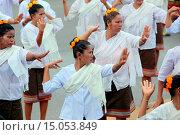 Купить «Eine traditionelle Tanz Gruppe zeigt sich an der Festparade beim Bun Bang Fai oder Rocket Festival in Yasothon im Isan im Nordosten von Thailand.», фото № 15053849, снято 23 июля 2019 г. (c) age Fotostock / Фотобанк Лори