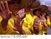 Купить «Eine traditionelle Tanz Gruppe zeigt sich an der Festparade beim Bun Bang Fai oder Rocket Festival in Yasothon im Isan im Nordosten von Thailand.», фото № 15055641, снято 23 июля 2019 г. (c) age Fotostock / Фотобанк Лори