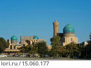 Asia, Uzbekistan, Central Asia, silk road, outside, day, building, construction, architecture, Kalon mosque, Kalan mosque, minaret, mosque, Islam, Islamic... Стоковое фото, фотограф Kreder Katja / age Fotostock / Фотобанк Лори