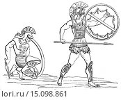 Ancient Greek hoplite, illustration from book dated 1878. (2012 год). Редакционное фото, фотограф Ivan Vdovin / age Fotostock / Фотобанк Лори