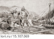 The landing of the Norsemen on the coast of North America in the 11th century. From The History of Our Country, published 1899. Редакционное фото, фотограф Classic Vision / age Fotostock / Фотобанк Лори