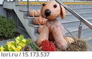 Купить «Забавная собачка, сделанная из тыкв, осенняя композиция в городском парке», фото № 15173537, снято 17 ноября 2015 г. (c) DiS / Фотобанк Лори