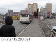 Купить «Подмосковный город Железнодорожный, автостанция и вокзал», эксклюзивное фото № 15293021, снято 8 декабря 2015 г. (c) Дмитрий Неумоин / Фотобанк Лори