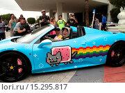 Купить «Deadmau5 aka Joel Zimmerman with his Ferrari 458 Italia wrapped in 'Nyan Cat' livery at the Gumball 3000 registration in Miami, Florida Featuring: Deadmau5...», фото № 15295817, снято 4 июня 2014 г. (c) age Fotostock / Фотобанк Лори