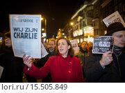 Купить «On 7 jan 2015, twenty thousand people demonstrated in Amsterdam against the killing of of the ten cartoonists of the french magazine Charlie Hebdo on 6 jan 2015.», фото № 15505849, снято 8 января 2015 г. (c) age Fotostock / Фотобанк Лори