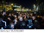 Купить «On 7 jan 2015, twenty thousand people demonstrated in Amsterdam against the killing of of the ten cartoonists of the french magazine Charlie Hebdo on 6 jan 2015.», фото № 15510041, снято 8 января 2015 г. (c) age Fotostock / Фотобанк Лори