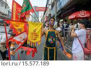 Купить «Self mutilation: Vegetarian festival devotee in Bangkok, Thailand.», фото № 15577189, снято 26 сентября 2014 г. (c) age Fotostock / Фотобанк Лори