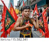 Купить «Self mutilation: Vegetarian festival devotee in Bangkok, Thailand.», фото № 15582341, снято 26 сентября 2014 г. (c) age Fotostock / Фотобанк Лори