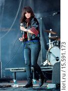 Купить «Alges, PORTUGAL: The Last Internationale performing live on the 2nd day of Festival NOS Alive in Alges, Friday, Jul. 11, 2014. Featuring: Delila Paz Where...», фото № 15591173, снято 14 июля 2014 г. (c) age Fotostock / Фотобанк Лори