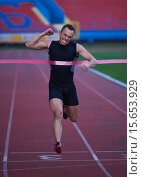 Купить «athletic runner finis line track», фото № 15653929, снято 18 июня 2019 г. (c) PantherMedia / Фотобанк Лори